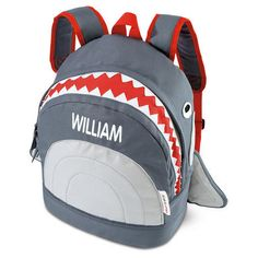 3 D Grey Shark Backpack Features White Eyes And Teeth As Zip Opening