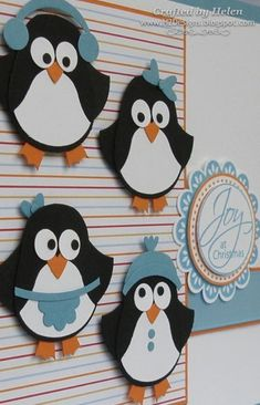 penguin punch art--begins with the su owl punch by vonda Owl Punch Cards, Tarjetas Diy, Paper Punch Art, Penguin Craft, Owl Card, Winter Cards, Xmas Cards, Stampin Up Cards, Cardmaking