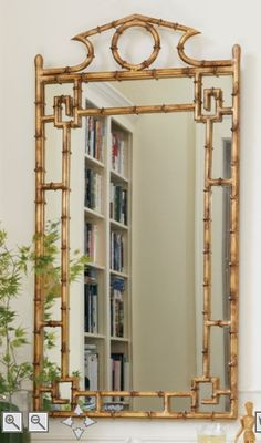 Chinoiserie Pagoda Mirror from Soft Surroundings Bamboo Mirror, Bamboo Wall, Home Decor Outlet, Cheap Home Decor, Mirrors For Sale, Home Decor Mirrors, Elements Of Style, Gold Walls, Greek Key