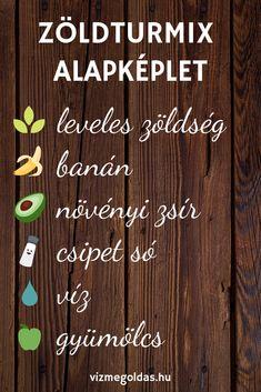 Fogyókúrás receptek - Az örök képlet, amire a zöld turmix elkészítéséhez szükséged van Healthy Detox, Healthy Drinks, Healthy Tips, Healthy Lifestyle Motivation, Smoothies, Clean Eating, Health Fitness, Vegan, Fruit