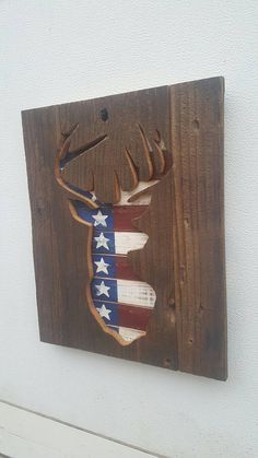 Rustic Patriotic Flag Pallet Cedar Wood Deer Silhouette Sign