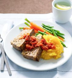 terrific better homes and gardens meatloaf. Meatloaf and tomato sauce with potato pumpkin mash Self saucing meatloaf  Women s Weekly Pinterest