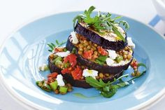 Not just for vegetarians, this dish is piled high with sweet tomato, tangy goat's cheese and protein-packed lentils.