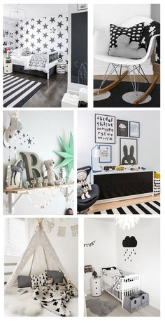 Monochrome Nursery Inspiration Pics, black and white bedrooms, beds, interiors for kids and family Baby Bedroom, Baby Boy Rooms, Nursery Room, Girls Bedroom, Bedroom Ideas, Bedroom Themes, Nursery Ideas, Monochrome Nursery, White Nursery