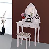 Songmics Wall-Fixed Hollow-out Floral Dressing Table set with mirror and stool, 4 drawers with 2 Dividers RDT04W