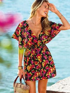A glam go-to: the Silk Cover-up from Victoria's Secret. Designed in supersoft silk habuti with an open back and above-the-knee length for supermodel status. Perfect for showing off your suit at the beach, or wearing alone at night.