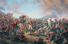 Captain Truscott and his Gunners manning Spanish guns at the battle of La Coruña, 16th January 1809