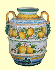 Vaso con manici decoro limoni cm. 50 - Vasi - Amalfi Coast Ceramics