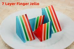 Recipe: 7-Layer Finger Jello (adapted from the Arlington Elementary School PTA cookbook, 1979) Printable recipe here  4 small packages (3 oz...