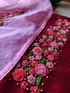 WhatsApp 9035330901 to customise hand embroidery materials. Saree Embroidery Design, Simple Embroidery Designs, Hand Embroidery Patterns Flowers, Hand Embroidery Dress, Embroidery Materials, Hand Embroidery Videos, Hand Embroidery Tutorial, Bullion Embroidery, Embroidery Suits