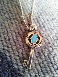 Silver key pendant #necklace opal #hamsa Remember #Jerusalem Bluenoemi, $45.00