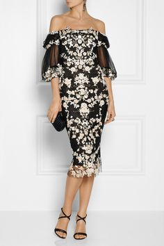 Marchesa | Embroidered tulle dress | NET-A-PORTER.COM Shown here with: Givenchy necklace, dress, pants and shoes.