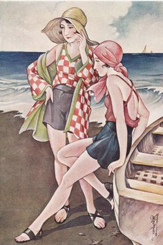 I live three blocks away from the beach, so every day I walk down to the beach to run or go swimming. Hiking is a big one for me - so long as it's something where I'm not thinking about working out, like in a contrived class or the gym. Art Deco Illustration, Retro Kunst, Retro Art, Vintage Images, Vintage Art, Moda Art Deco, Art Deco Stil, Retro Mode, Retro Poster