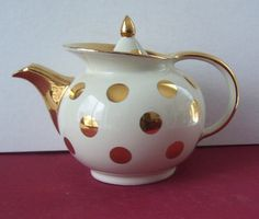 Hall 6 Cup Gold Label Windshield Dot Teapot  Light Cream  with Gold Trim and Dots. $95.00, via Etsy.