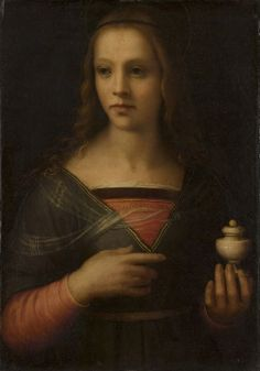 """Saint Mary Magdalene"" Attributed to Domenico Puligo (Domenico di Bartolomeo degli Ubaldini), Italian (active Florence), born still active 1527 Date: Mid- Medium: Oil on panel Dimensions: 21 x 15 inches x cm) Philadelphia Museum of Art Los Borgia, Lucrezia Borgia, The Borgias, Borgia History, Santa Maria Magdalena, Italian Renaissance Art, St Maria, Young Prince, Angels"