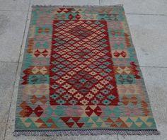 Ghazny Wool Hand Woven Vintage Rug Kelim 4x2.7 ft Nomadic Afghan Rug Kilim #5303 #Geometric