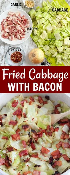Fried Cabbage is one of the easiest comfort-food recipes you can make. When you add in bacon, onions, and garlic, this five ingredient southern staple is perfect as a side dish, or as your main meal with a big hunk of cornbread on the side! #friedcabbage #comfortfood belleofthekitchen.com Potluck Recipes, Bacon Recipes, Side Dish Recipes, Cooking Recipes, Side Dishes, Milk Recipes, Kitchen Recipes, Cooking Tips, Vegetable Dishes