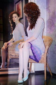 """Купить Вязаное платье """"Lavеnder"""" - бледно-сиреневый, лавандовый, сиреневый, ажурное платье, шикарное платье"""