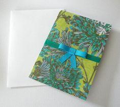 Greeting Card Blank Blue Green Happy Birthday Card by Zedezign #greetingcard #bow #gift