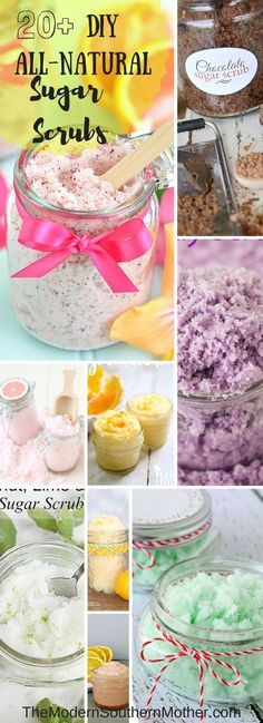 Diy all-natural sugar scrubs. natural skincare sugar scrub d Diy Spa, Diy Beauté, Sugar Scrub Homemade, Sugar Scrub Recipe, Diy Body Scrub, Diy Scrub, Little Presents, Sugar Scrubs, Salt Scrubs
