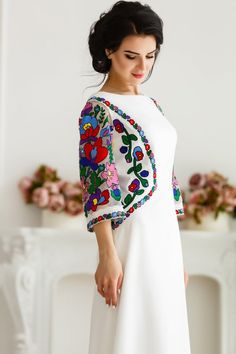 A line prom dress with floral colorful embroidery - Bridal dress with ethnic Ukrainian embroidery - Three quarter sleeves maxi dress Frock Fashion, Skirt Fashion, Fashion Dresses, Simple Pakistani Dresses, Pakistani Dress Design, Sleeves Designs For Dresses, Dress Neck Designs, Stylish Dresses For Girls, Elegant Dresses