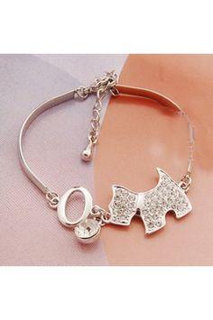 $5.99 Cute Rhinestone Dog Bangle Bracelet i want this #RightNow im in Love