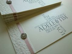 Delicious vanilla pink satin ribbon mixed with gorgeous Ivory lace and crystals to create this stylish contemporary cheque book wedding invitation - SweetP. Design Wedding Stationery