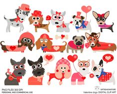 Valentine dogs clip art  for Personal and Commercial use - INSTANT DOWNLOAD on Etsy, $2.00