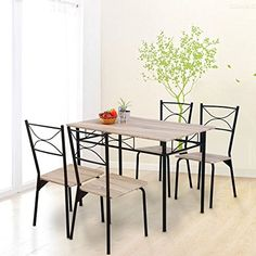 Modern Design Kitchen 5 Piece Dining Table and 4 Chairs Dining Room Furniture Set, Life Carver---83---