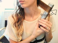 A Lovely Tip: How to do Wavy Curls with a Straightener , you could probably take bigger sections for looser curls!!