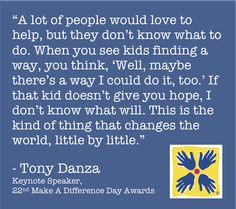 Excited to have actor Tony Danza as the keynote speaker for the 22nd Make A Difference Day Awards!