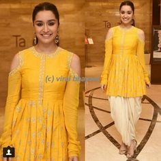 slays it in a golden yellow traditional wear for bioscope village launch. Kurta Designs Women, Blouse Designs, Indian Attire, Indian Wear, Indian Designer Outfits, Designer Dresses, Indian Dresses, Indian Outfits, Unique Dresses