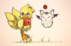 Illustration fanart de la série jeux vidéo Final Fantasy : bébé chocobo et moogle Format A4 à l'aquarelle de la boutique SwordandStar sur Etsy