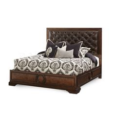 Bella Cera Panel Bed with Leather Tufted Headboard by AICO