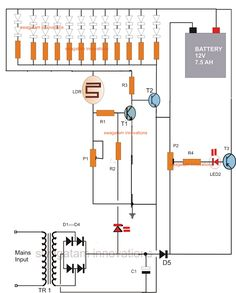 Battery Over Charge Protected Emergency Lamp Circuit Electronics Storage, Electronics Components, Electronics Projects, Battery Charger Circuit, Electronic Circuit Projects, Electronic Schematics, Emergency Lighting, Arduino, Innovation