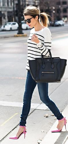 Striped Knit Sweater Top With Ripped Skinny Jeans And Pink Pumps Or Black Handbag by Hello Fashion