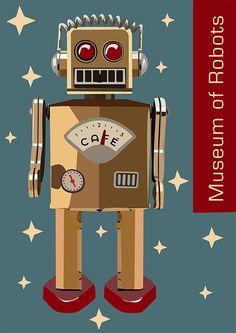 Robot Museum vector poster by Laura Burton