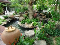 Water Features for Every Garden Design. Natural looking and yet small water feature