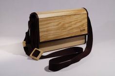 wooden bag made out of lamellar curved wood