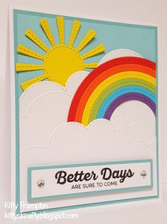 Made for Quick Cards Made Easy Magazine using Dienamics Stitched Rainbow, Dienamics Sunny Skies & Dienamics Stitched Cloud Edges.
