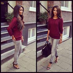 Grey and burgundy... Sooo kute 2getha!!!! Wunt tha sweater!!!!!!! Xo