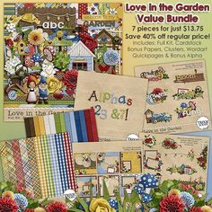 """Love in the Garden Digital Scrapbooking Value Bundle Gnomes Frogs - Tiptoe through the rose garden, water the flowers, and perhaps catch a clandestine gnome kiss with this adorably cute digital scrapbooking collection by Trixie Scraps Designs. Perfect for avid gardeners, pages about things """"grown with love"""" and so much more - this packed collection is filled with all the papers, elements and scrappy bits you need to make beautiful pages for your family."""