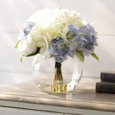 Found it at Wayfair - Millau Hydrangea and Rose Bouquet in Water Elegant Fall Decor, Bubble, Hydrangea Arrangements, Flower Arrangement, Jar Centerpieces, Vase, Faux Flowers, Fresh Flowers, Rose Bouquet
