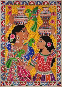 Indian Artwork, Indian Folk Art, Indian Art Paintings, Madhubani Art, Madhubani Painting, Kalamkari Painting, Om Namah Shivaya, India Art, Krishna Art