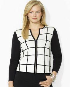 Lauren Ralph Lauren Plus Windowpane Print Zip Cardigan #plussizetops