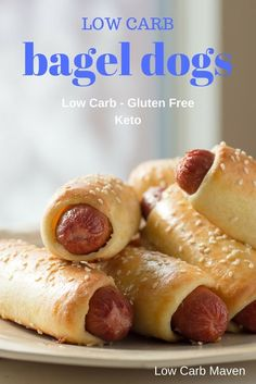 These low carb Bagel Dogs or pretzel dogs are easy to make with the Fathead pizza crust recipe. The perfect gluten free keto appetizer, lunch, snack, or meal. Perfect for game day!