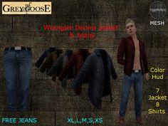 (WEAR ME) Wrangler Denim Jacket SOLO & Jeans  secondlife, sl, avatar secondlife fashion lifestyle