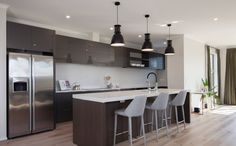 A nice clean lined kitchen. Pendulum Lights, New Zealand Houses, Home Renovation, Kitchen Inspiration, Kitchen Ideas, My House, Building A House, Kitchen Design, New Homes