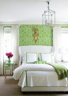 Green + white bedroom.