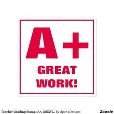 Shop Teacher Grading Stamp: A+, EXCELLENT! Self-inking Stamp created by AponxDesigns. Self Inking Stamps, School Teacher, Inspirational Quotes, Lettering, Teaching, Education, Words, Classroom, Decorations